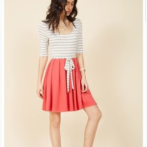 Modcloth white and grey stripe and coral dress